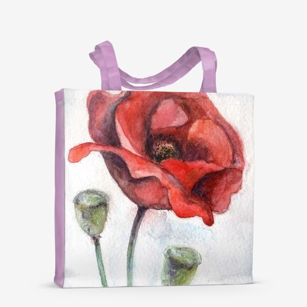 Сумка-шоппер «Цветок Мак акварель»
