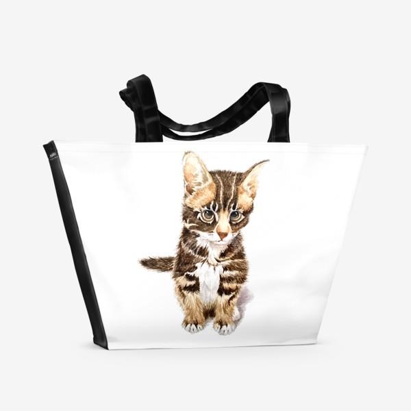 Пляжная сумка «Милый котенок сидит»