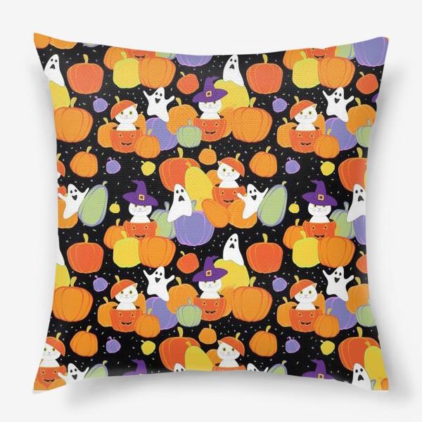 Подушка «Хэллоуин,тыквы,коты и привидения»