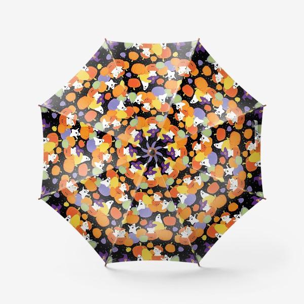 Зонт «Хэллоуин,тыквы,коты и привидения»
