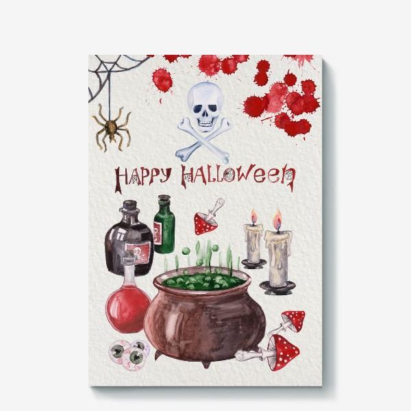 Холст «Happy Halloween. Счастливого Хелоуина. Постер-открытка символика Хелоуина»