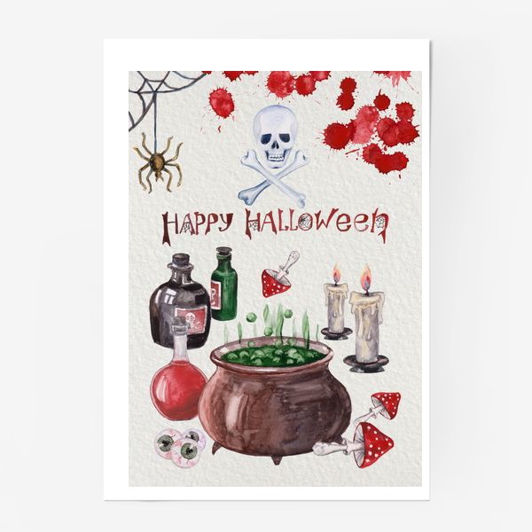 Постер «Happy Halloween. Счастливого Хелоуина. Постер-открытка символика Хелоуина»