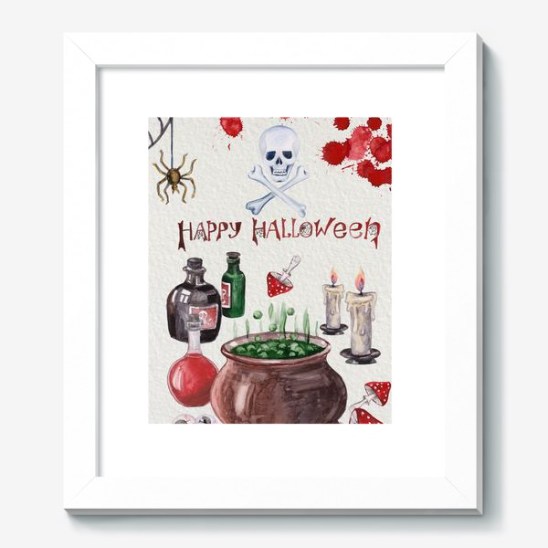 Картина «Happy Halloween. Счастливого Хелоуина. Постер-открытка символика Хелоуина»
