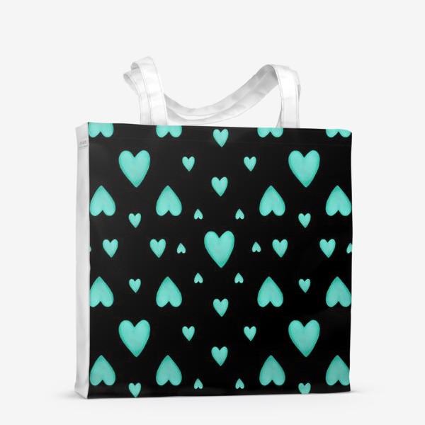 Сумка-шоппер «Мятные сердечки на черном фоне Паттерн Узор любовь»