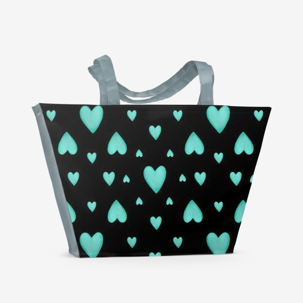 Пляжная сумка «Мятные сердечки на черном фоне Паттерн Узор любовь»