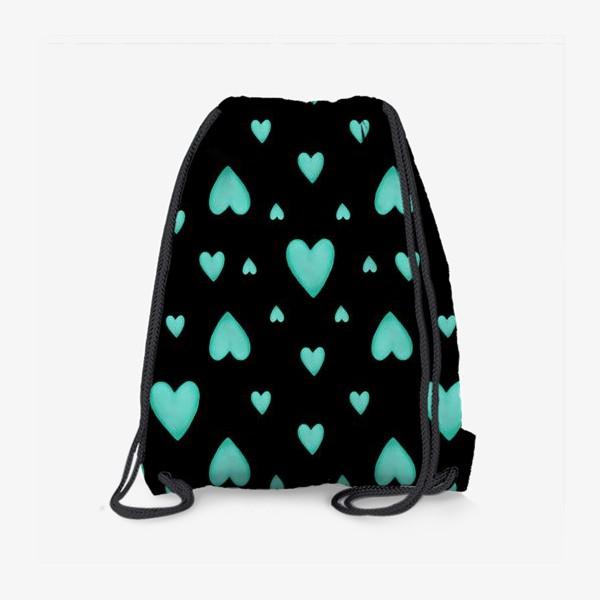 Рюкзак «Мятные сердечки на черном фоне Паттерн Узор любовь»