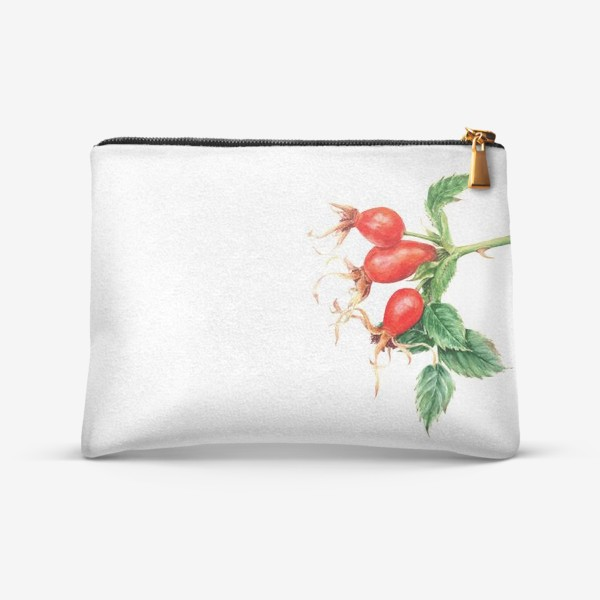 Косметичка «Ветка шиповника ботаническая иллюстрация акварель»