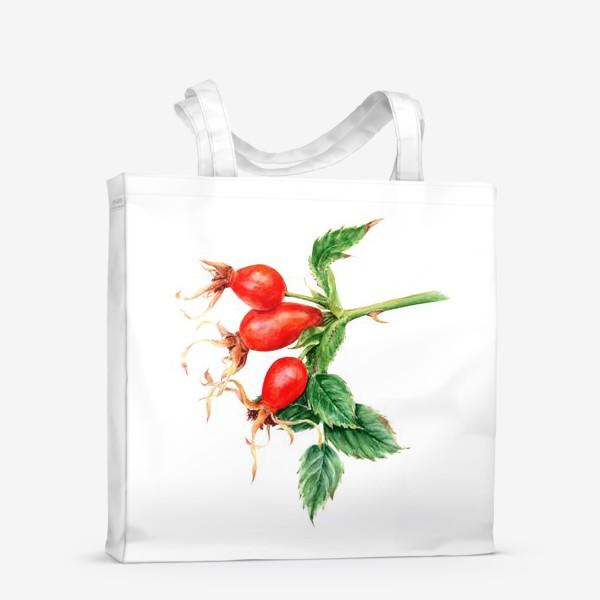Сумка-шоппер «Ветка шиповника ботаническая иллюстрация акварель»