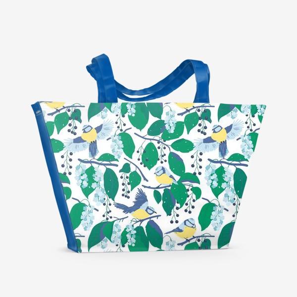 Пляжная сумка «Синички на черёмухе. На белом. »