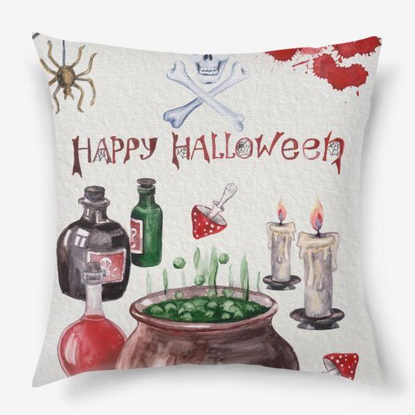Подушка «Happy Halloween. Счастливого Хелоуина. Постер-открытка символика Хелоуина»