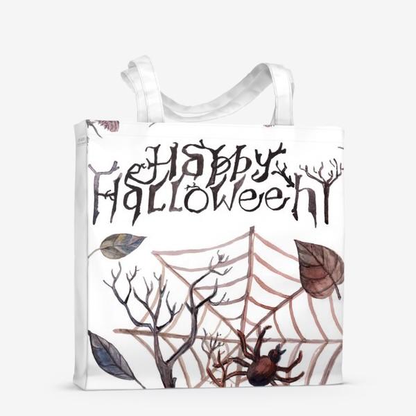 Сумка-шоппер «Happy Halloween. Счастливого Хелоуина. Постер-открытка символика Хелоуина»