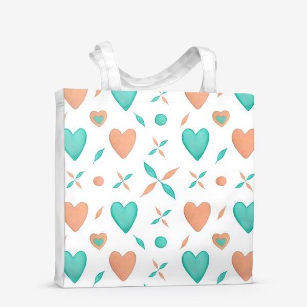 Сумка-шоппер «Мятные и персиковые сердца на белом фоне Паттерн Узор листья»