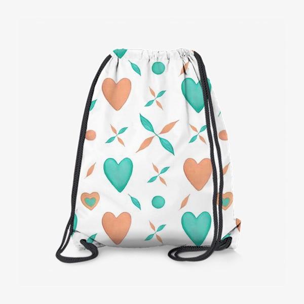 Рюкзак «Мятные и персиковые сердца на белом фоне Паттерн Узор листья»