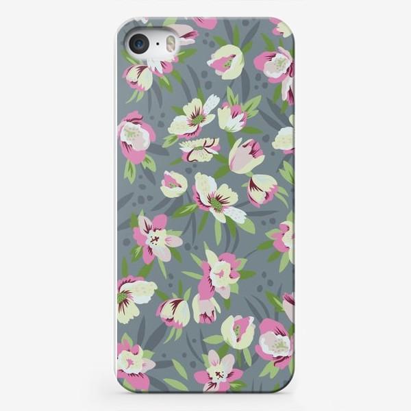 Чехол iPhone «Деликатное цветение на сине-сером фоне»