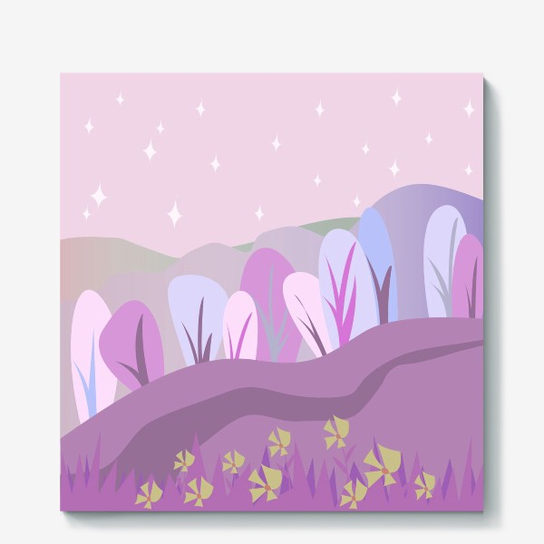 Холст «Розовый пейзаж »