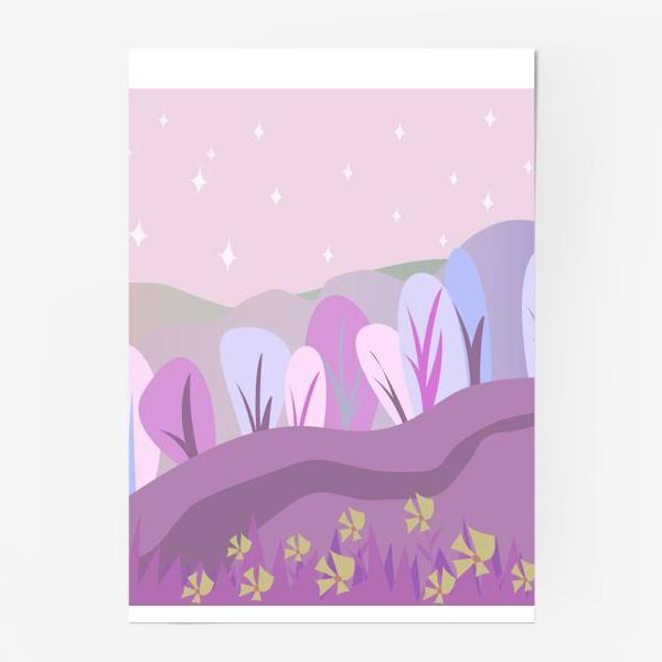 Постер «Розовый пейзаж »