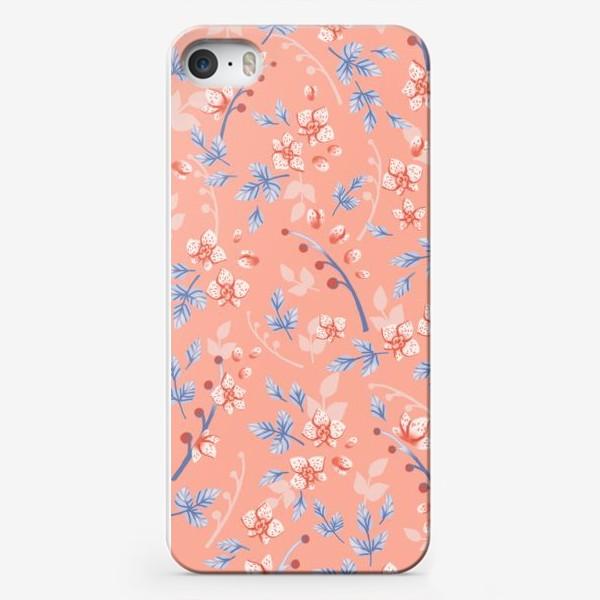 Чехол iPhone «Нежные орхидеи на персиковом»