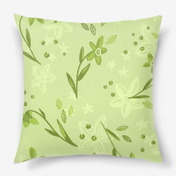 Подушка «Зелёные нарциссы»