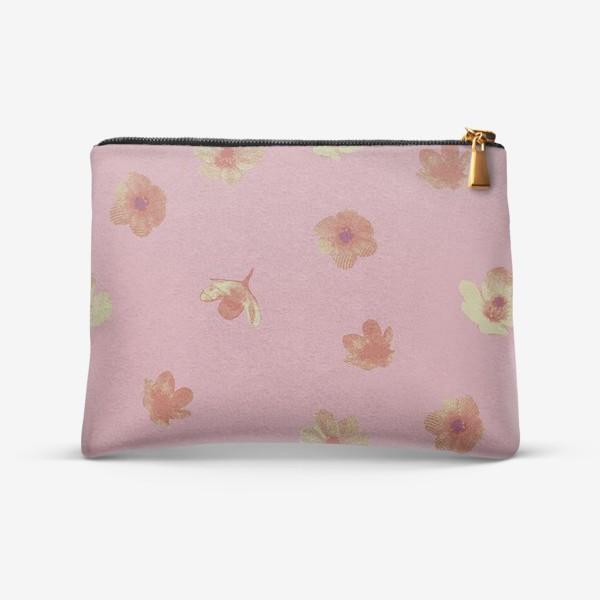 Косметичка «Потёртые нежные цветы на розовом»