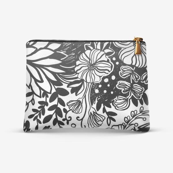 Косметичка «Тропические цветы чёрные на белом 2»