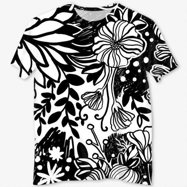 Футболка с полной запечаткой «Тропические цветы чёрные на белом 2»