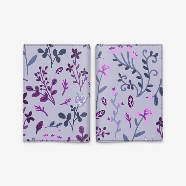 Обложка для паспорта «Цветочки-веточки на светлом»