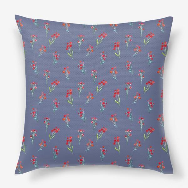 Подушка «Коралловые акварельные цветы на пыльно-синевом фоне»