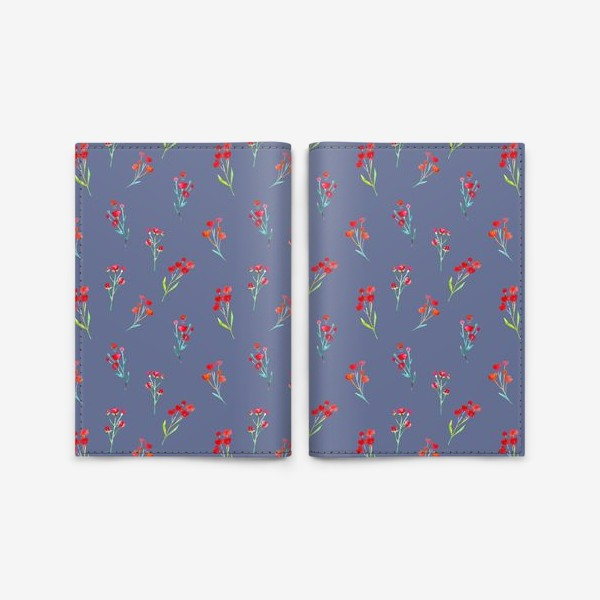 Обложка для паспорта «Коралловые акварельные цветы на пыльно-синевом фоне»