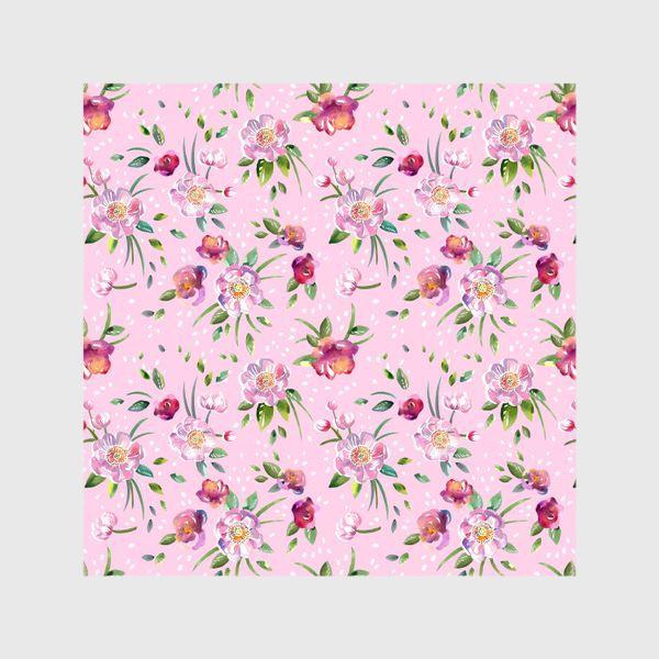 Шторы «Акварельные пионы и розы на розовом»
