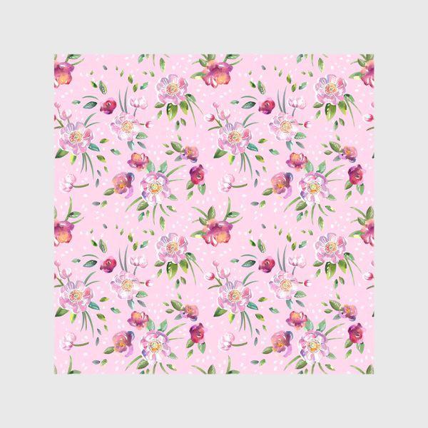Скатерть «Акварельные пионы и розы на розовом»