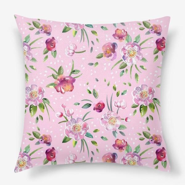 Подушка «Акварельные пионы и розы на розовом»