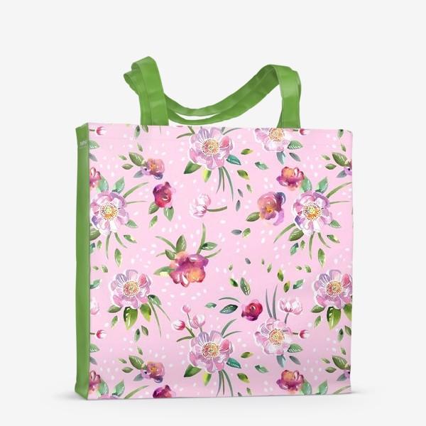 Сумка-шоппер «Акварельные пионы и розы на розовом»