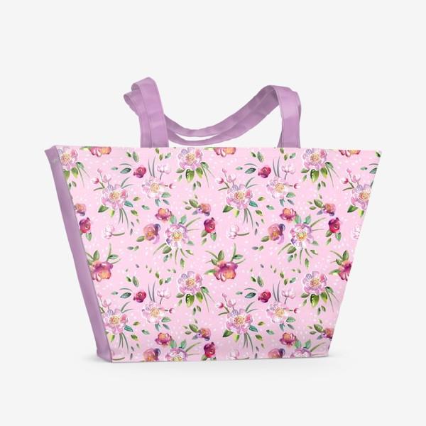 Пляжная сумка «Акварельные пионы и розы на розовом»