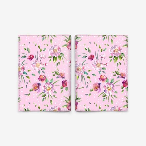 Обложка для паспорта «Акварельные пионы и розы на розовом»