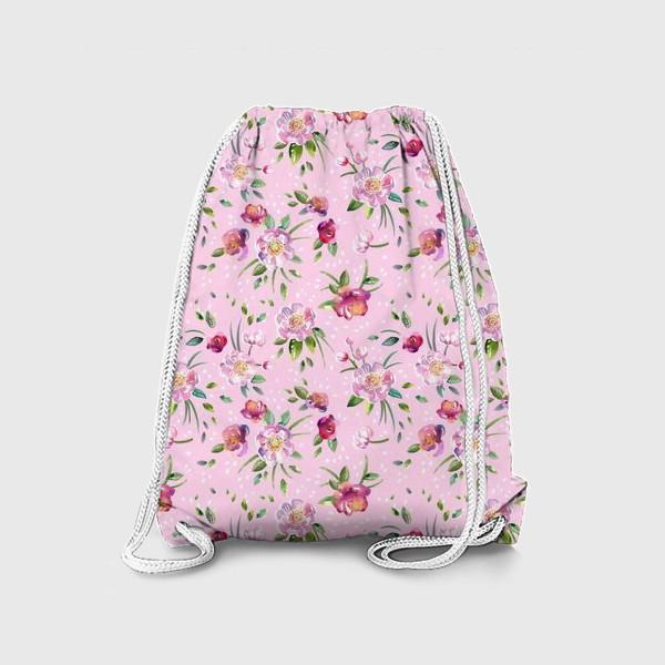 Рюкзак «Акварельные пионы и розы на розовом»