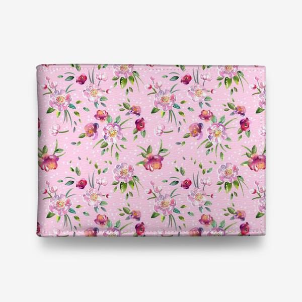 Кошелек «Акварельные пионы и розы на розовом»