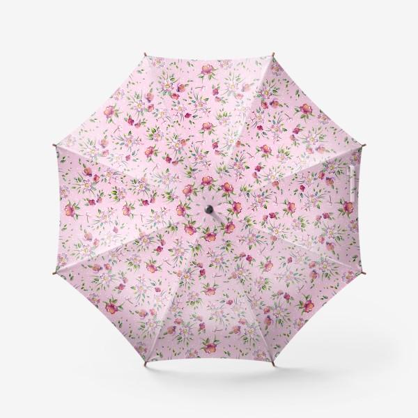 Зонт «Акварельные пионы и розы на розовом»