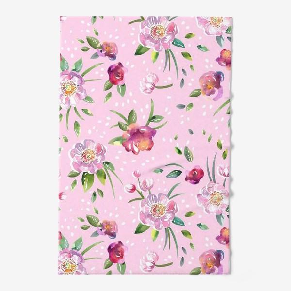 Полотенце «Акварельные пионы и розы на розовом»