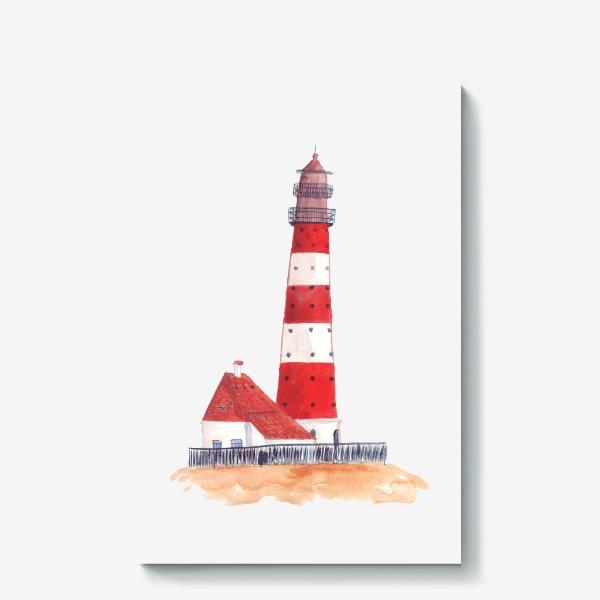 Холст «Красно-белый полосатый маяк с пристройкой домом»