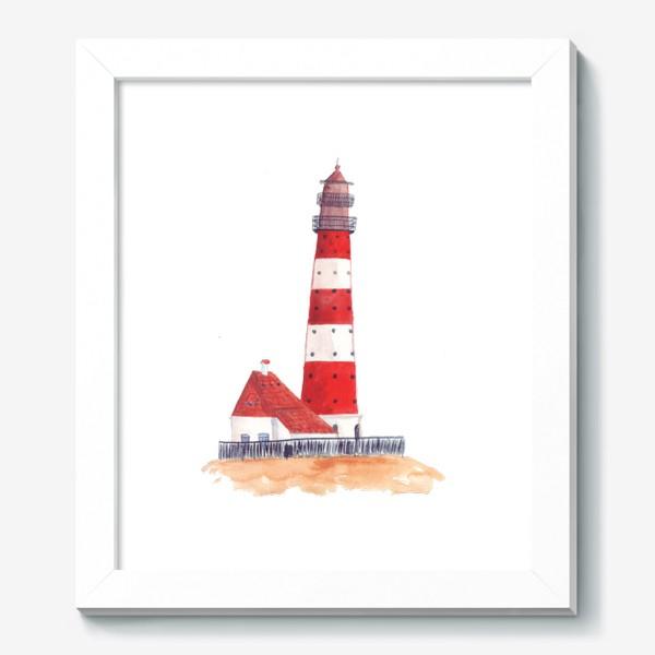 Картина «Красно-белый полосатый маяк с пристройкой домом»