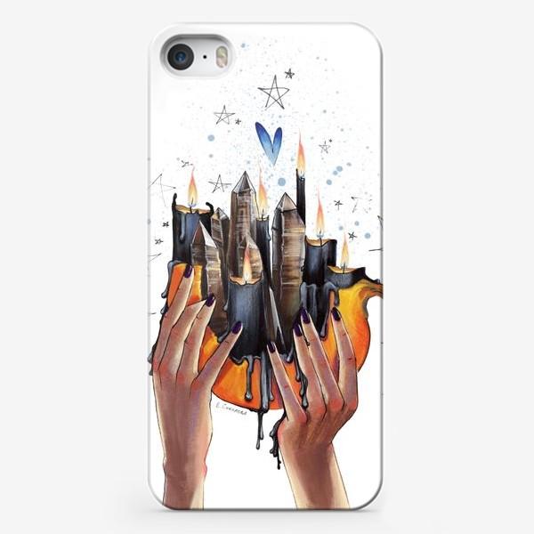 Чехол iPhone «Хэллоуинская тыква. Свечи и кристаллы»