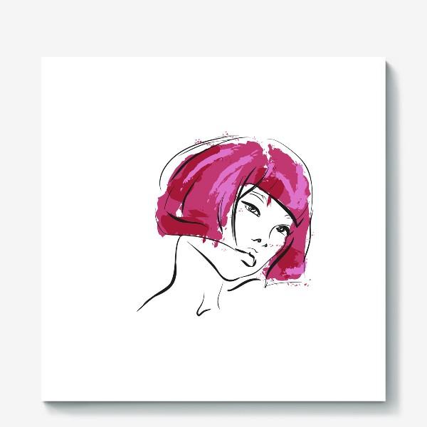 Холст «Fuchsia | Color hair | Fashion cкетч»
