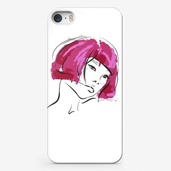 Чехол iPhone «Fuchsia   Color hair   Fashion cкетч»