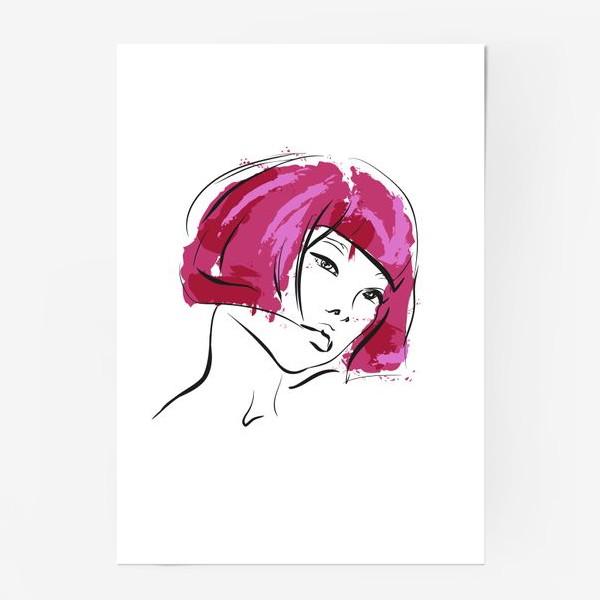 Постер «Fuchsia | Color hair | Fashion cкетч»