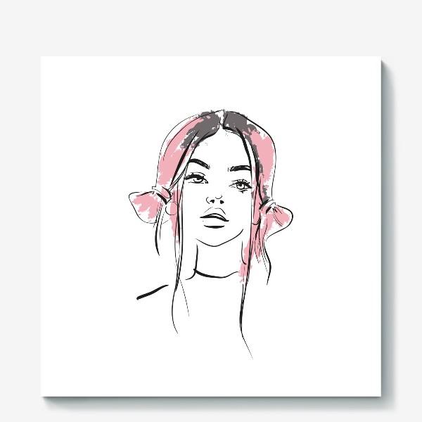 Холст «Pink | Color hair | Fashion cкетч»