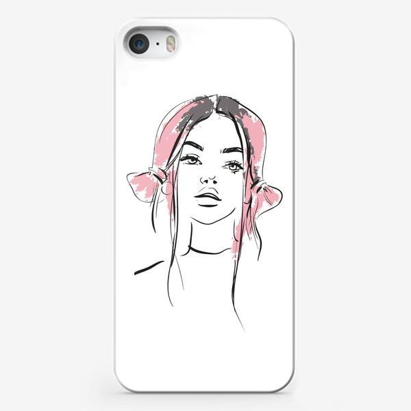 Чехол iPhone «Pink   Color hair   Fashion cкетч»