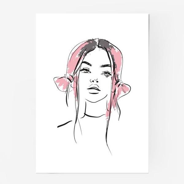 Постер «Pink | Color hair | Fashion cкетч»