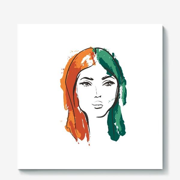 Холст «Autumn | Color hair | Fashion cкетч»