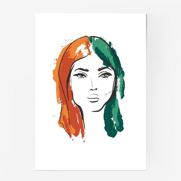 Постер «Autumn | Color hair | Fashion cкетч»