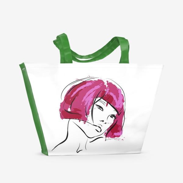 Пляжная сумка «Fuchsia | Color hair | Fashion cкетч»